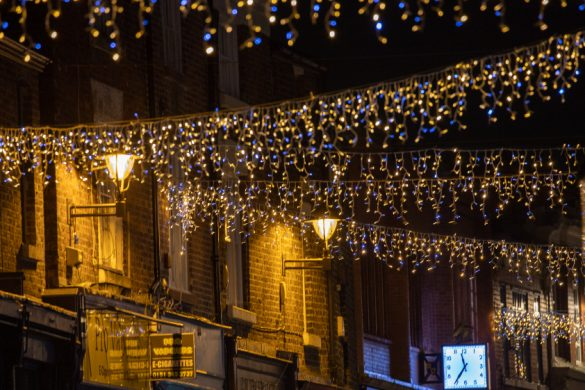 Christmas lights in Prescot town centre