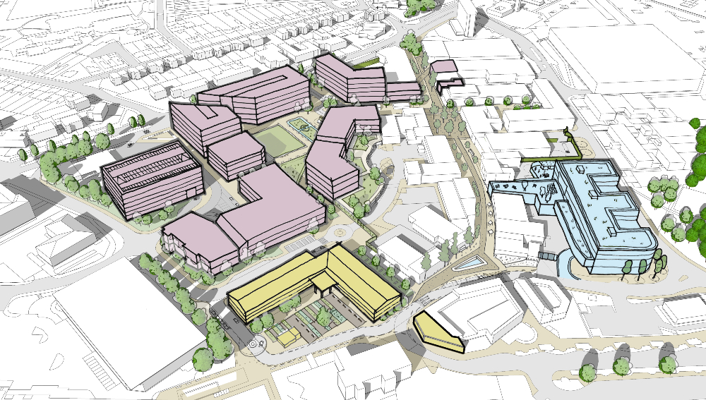 Map shows the layout of the proposed new Huyton Village Centre re-development.