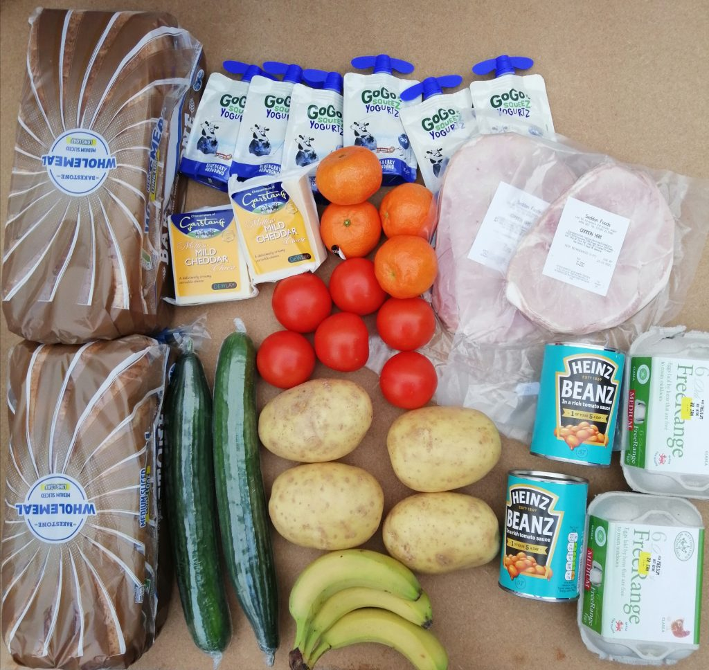 A typical food parcel for a child on free school meals in Knowsley during the third national lockdown