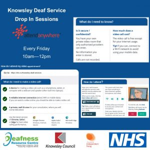 Attend Anywhere poster for deaf service drop in sessions