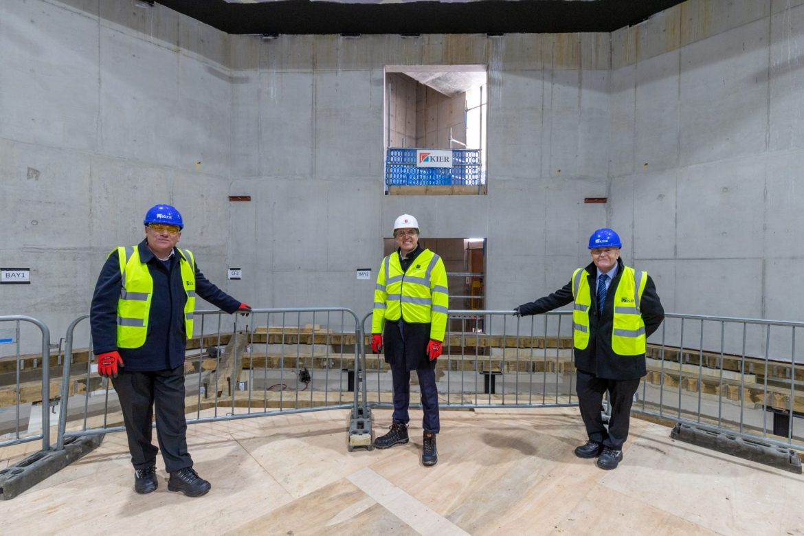 Cllr Graham Morgan, Metro Mayor Steve Rotheram and Cllr Tony Brennan on site at The Shakespeare North Playhouse in Prescot