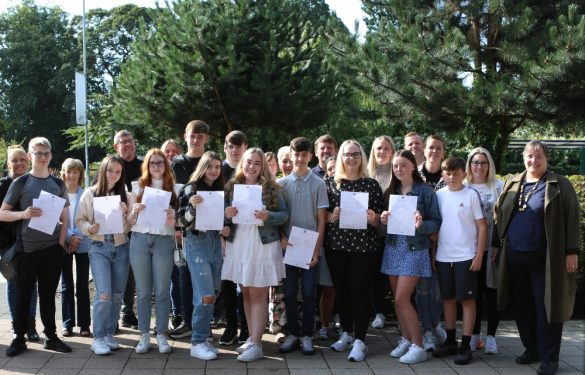 Students at All Saints Catholic High School, joined by Cllr Margaret Harvey on GCSE results day