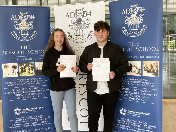 Prescot School students collect their GCSE results