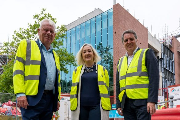 Cllr Graham Morgan, Melanie Lewis and Metro Mayor Steve Rotheram at The Shakespeare North Playhouse site 3