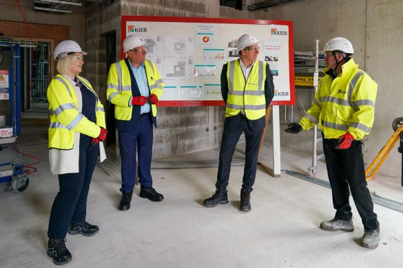 Cllr Graham Morgan, Melanie Lewis and Metro Mayor Steve Rotheram at The Shakespeare North Playhouse site