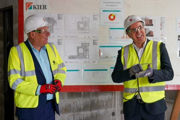 Cllr Morgan and Metro Mayor Steve Rotheram at The Shakespeare North Playhouse site