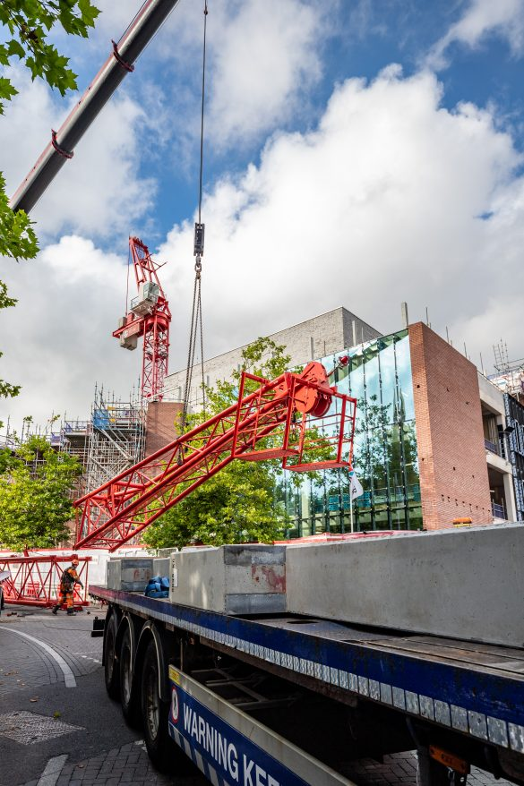 Tower crane 'Toby' leaving The Shakespeare North Playhouse site in Prescot
