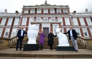 (L-R) Andrew Donaldson, Knowsley Council, Julie Gaskill, Wild in Art, Cllr Shelley Powell and Lord Derby with the Owl and Pussy-Cat sculptures at Knowsley Hall