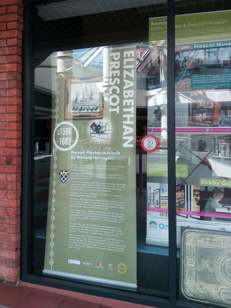 A banner on display in Prescot Museum